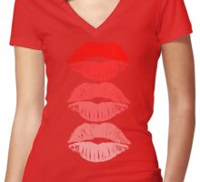 Red Lips Fashion Women's Fitted V-Neck T-Shirt
