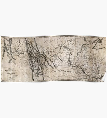 LEWIS & CLARK's HAND-DRAWN MAP OF DISCOVERY 1804 Poster