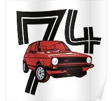 Retro 1970's gti hatchback car t-shirt Poster