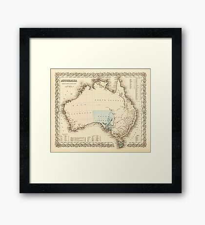 MAP of MYSTERIOUS AUSTRALIA  c. 1850 Framed Print