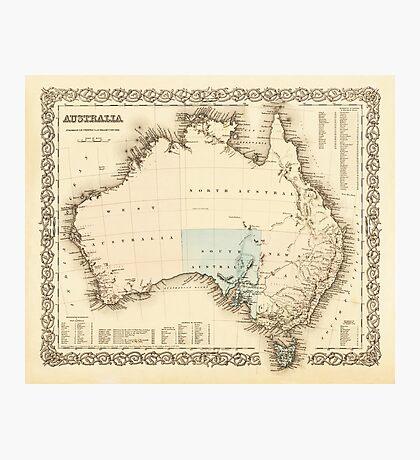 MAP of MYSTERIOUS AUSTRALIA  c. 1850 Photographic Print