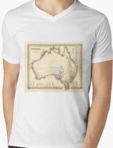 MAP of MYSTERIOUS AUSTRALIA  c. 1850 Mens V-Neck T-Shirt