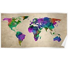 MAP of the WORLD ANTIQUE Poster