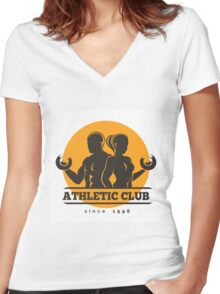Sport Athletic Club Emblem Women's Fitted V-Neck T-Shirt