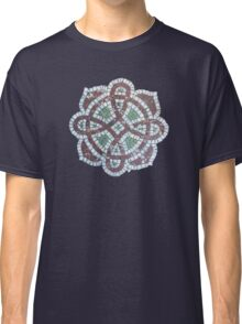 Victorian mosaic tile on navy Classic T-Shirt