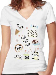 Panda Snacks Women's Fitted V-Neck T-Shirt