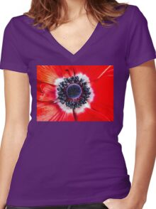 Symmetry on Red Women's Fitted V-Neck T-Shirt