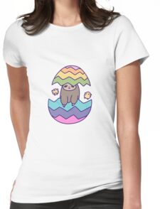 Easter Egg Sloth Womens Fitted T-Shirt