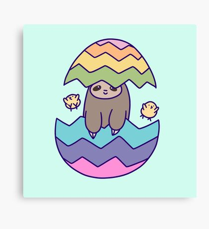 Easter Egg Sloth Canvas Print