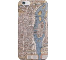 MEDIEVAL PARIS MAP c. 1555 iPhone Case/Skin