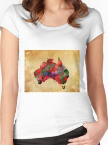 WATERCOLOR MAP of AUSTRALIA Women's Fitted Scoop T-Shirt
