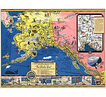 TRAVEL ALASKA FUN MAP 1934 Photographic Print