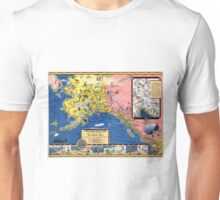TRAVEL ALASKA FUN MAP 1934 Unisex T-Shirt