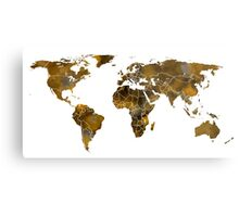 MAP of the WORLD SEPIA TONED Metal Print