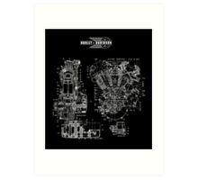 1942 HARLEY DAVIDSON KNUCKLEHEAD ENGINE DRAWING Art Print