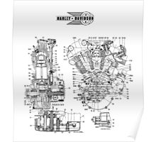 1942 KNUCKLEHEAD HARLEY DAVIDSON ENGINE DRAWING Poster