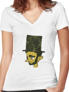 Lincoln pouts Women's Fitted V-Neck T-Shirt