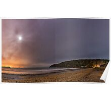 Oxwich Bay with the Moon, Gower Poster