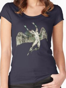 ICARUS THROWS THE HORNS - antique grunge Women's Fitted Scoop T-Shirt