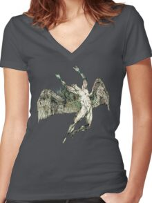 ICARUS THROWS THE HORNS - antique grunge Women's Fitted V-Neck T-Shirt