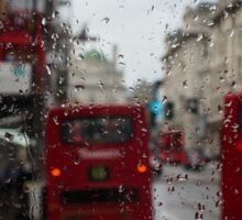 London - It's Raining Again But Riding the Double-Decker Buses is Fun! Sticker