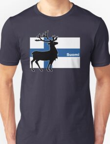 Suomi: Finnish Flag and Reindeer Unisex T-Shirt