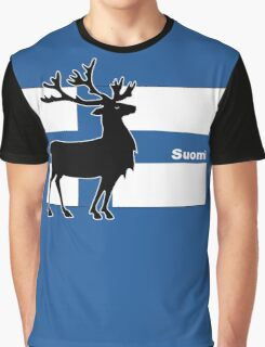 Suomi: Finnish Flag and Reindeer Graphic T-Shirt