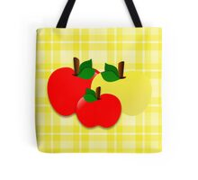 Red and Yellow Apples on Gingham Tote Bag