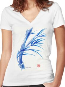 """Wind""  blue sumi-e ink wash painting Women's Fitted V-Neck T-Shirt"
