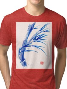 """Wind""  blue sumi-e ink wash painting Tri-blend T-Shirt"