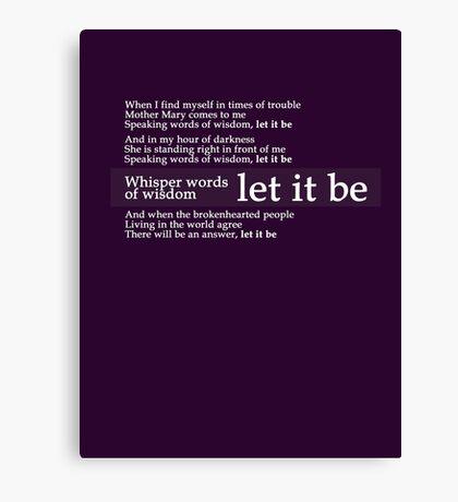 Beatles - Let It Be Lyrics Canvas Print