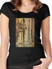 'Venise Et Le Lido' Vintage Travel Poster Women's Fitted Scoop T-Shirt