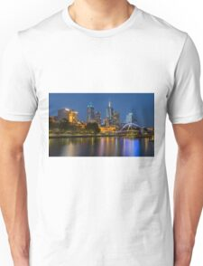 Melbourne at night and the Pedestrian Bridge Unisex T-Shirt