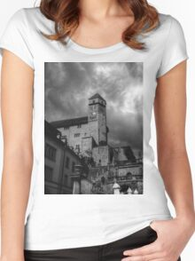 Storm Clouds Over Rapperswil Castle Switzerland Women's Fitted Scoop T-Shirt