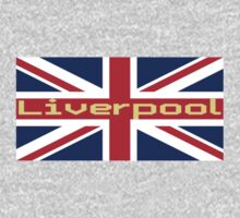 Liverpool Union Jack Flag Sticker T-Shirt Football Club Kids Tee