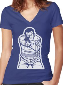 The Thug (rifle) target Women's Fitted V-Neck T-Shirt