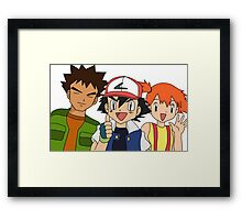Pokemon Ash Brock and Misty Framed Print
