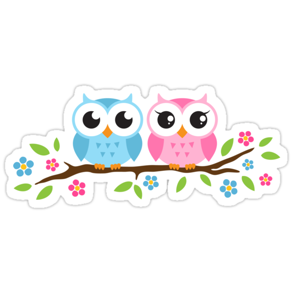 Quot Cute Blue And Pink Owl Sitting On A Branch Sticker