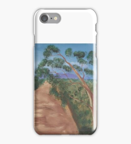 Gum trees along a dirt road. iPhone Case/Skin