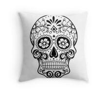 black & white Sugar Skull Throw Pillow