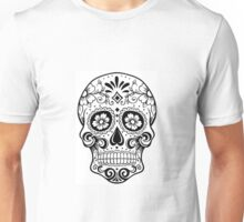black & white Sugar Skull Unisex T-Shirt
