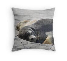 Sleeping mama seal Throw Pillow