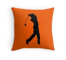 Pro Golfer Swinging Silhouette Throw Pillow