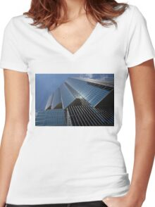 Silver Lines to the Sky - Downtown Toronto Skyscraper Women's Fitted V-Neck T-Shirt