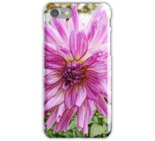 Beautiful pink flower digital color pencil sketch. iPhone Case/Skin