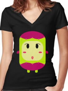 Cute character creature design - 1 Women's Fitted V-Neck T-Shirt