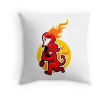 Red Devil Boy And Flaming Guitar Throw Pillow