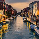 Murano Canal by night by Tarrby