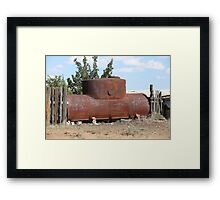 rusty oil storage tank Framed Print