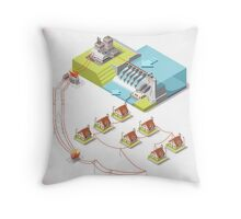 Energy Hydroelectric Power Isometric Throw Pillow
